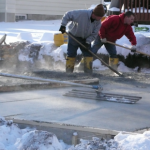 Laying concrete driveway during the cold winter months in Dayton, Ohio
